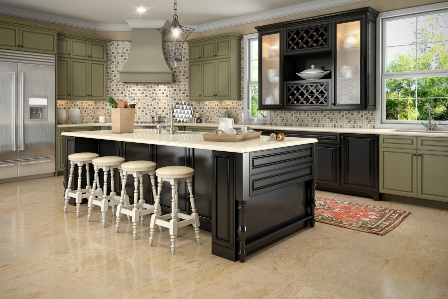 sage green and raised black kitchen cabinets @buycabinetdirect.com