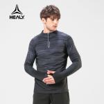 HEALY希利运动春秋圆领上衣男半拉链护手衣跑步健身服训练衣长袖