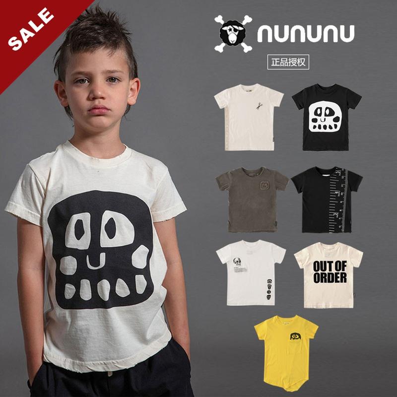20春夏NUNUNU 男女儿童短袖T恤个性星星骷髅黑色超酷个性时尚轻薄