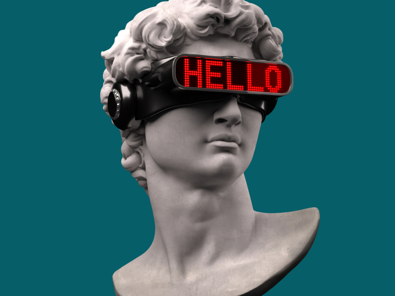 Funny DP Classical head sculpture with VR visor headset  SaveDelete