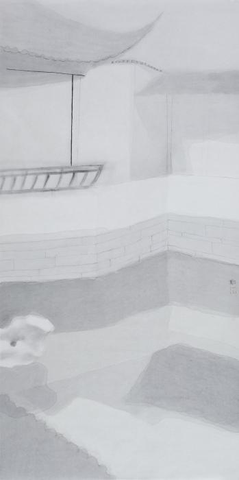 沈勤, 园-之一, 纸本水墨, 138×68cm-