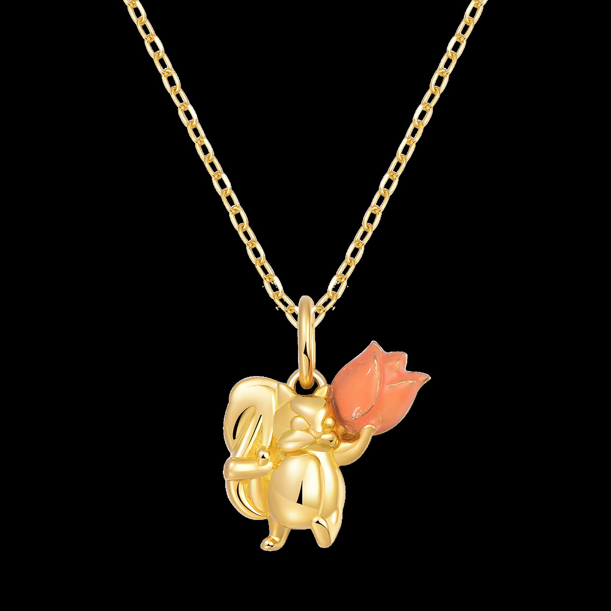 Naughty Little Squirrel Collection 18K珐琅 松鼠吊坠-百合花 2699