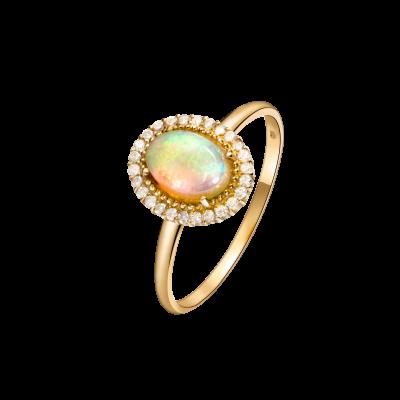 Precious Collection 18K黄金 椭圆型白欧泊多围一镶钻戒指 6999