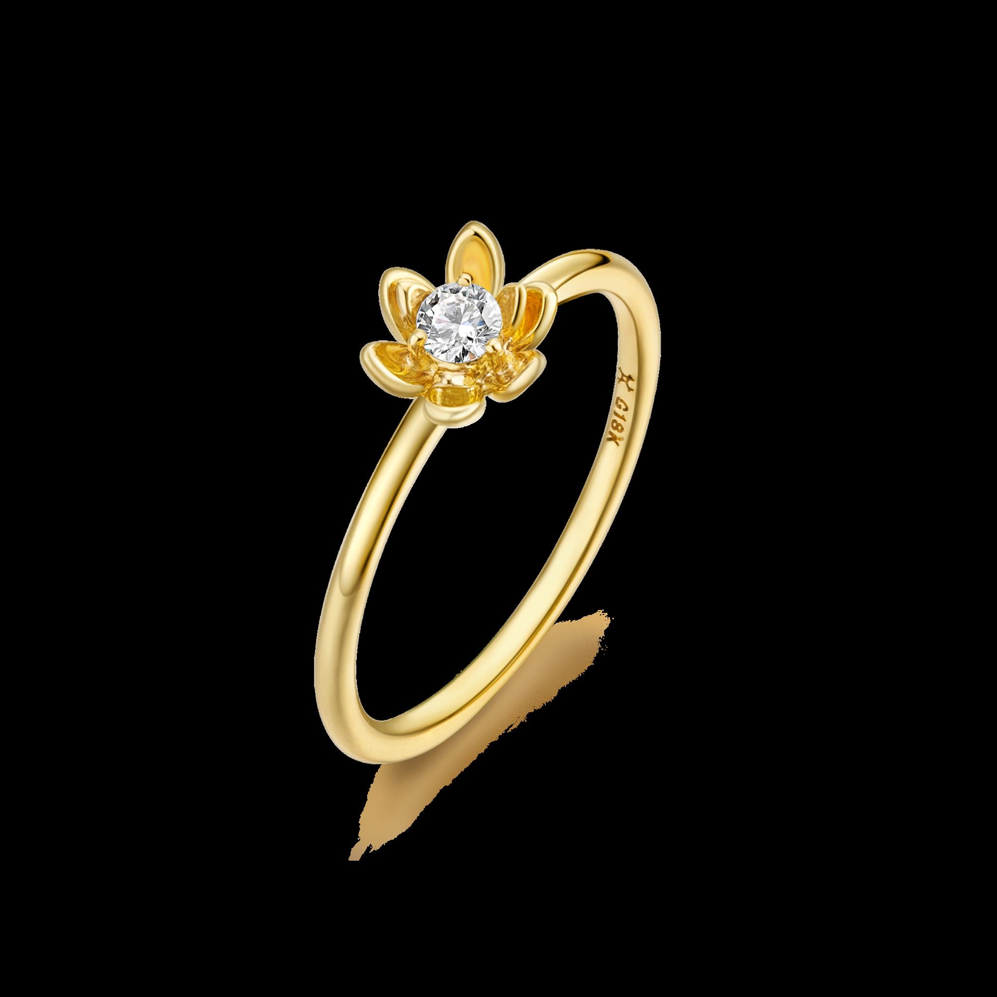 Magnolia Collection 18K黄金 钻石花瓣戒指 ¥5399