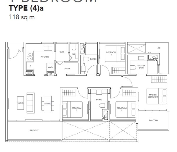 The Jovell 4卧平面图 The Jovell 4 Bedroom Floor Plan