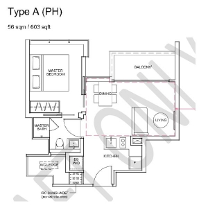 Wilshire-Residences-Penthouse-1-Bedroom-Floor-Plan
