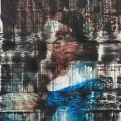 姜培源, 信号-1 Signal-1, 木板上背胶纸彩喷和综合材料, 40x50cm, 2014_1